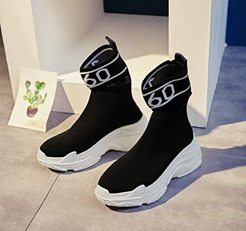 Salvaje Botas Altos Negro Coreanos Súper de de de Fuego Zapatos Casuales Botas Gruesa TSNMNB Plataforma elásticos Mujer Zapatos Calcetines C7nqXUwX1H