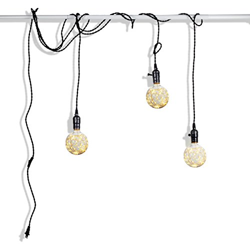 Judy Lighting - 3 Socket 24.5FT Plug-in Vintage Pendant Light Fixture Set,Swag Lights 4 Hook Sets with On/Off Switch (Pearl Black)