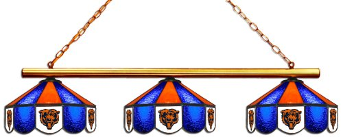 (Imperial Officially Licensed NFL Merchandise: Tiffany-Style Stained Glass Billiard/Pool Table 3 Shade Light, Chicago Bears)