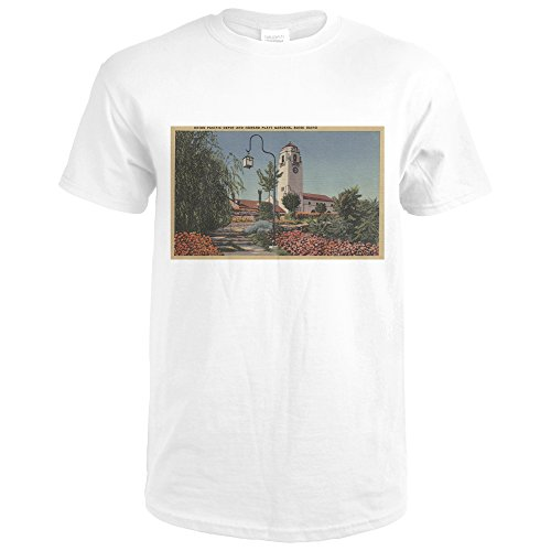 Boise, ID - View of Union Pacific Depot with Gardens (Premium White T-Shirt (View Union)
