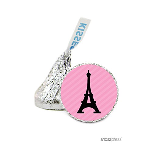 Andaz Press Chocolate Drop Labels Stickers, Wedding, Paris Eiffel Tower, 216-Pack, For Hershey's Kisses Party Favors, Gifts, Decorations, Bachelorette Party Invitation Seals