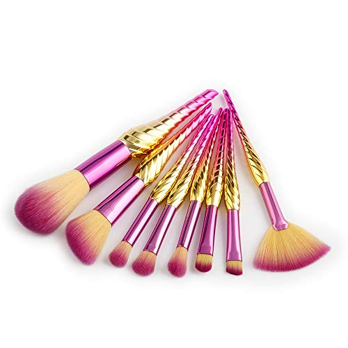 Yichener New 8Pcs Sea Snail Makeup Brushes Set Big Fish Tail Foundation Powder Brush Make up Brushes Sets pinceaux maquillage