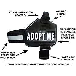 ADPOT ME Nylon Dog Vest Harness. Purchase comes with 2 reflective removable ADOPT ME patches PLEASE MEASURE your dog before ordering
