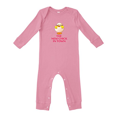The New Chick in Town Cotton Long Sleeve Envelope Neck Unisex Baby Legged Long Rib Coverall Bodysuit - Soft Pink, 12 Months (New Chick)