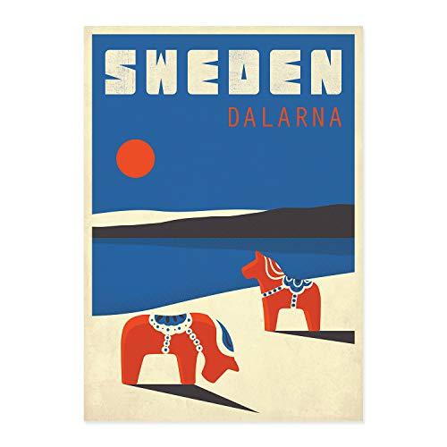 Sweden, Dalarna, Travel poster, Dala horse, Horses, Scandinavia, Scandinavian landscape, travel art print, tourist - Dalarna Dala Horse
