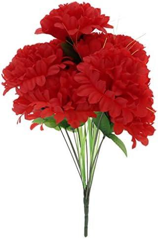 人工菊花束家の装飾の墓墓地の花 - 暗赤色