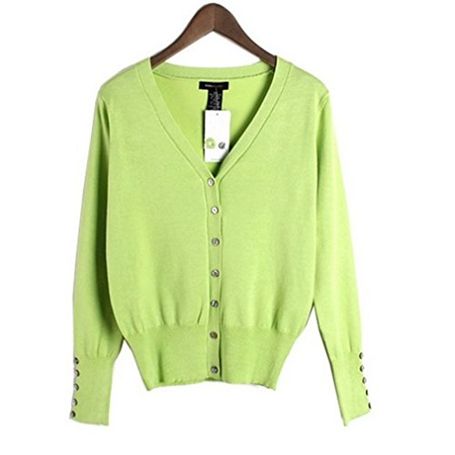 Bouton Acvip Pull 8 V Avant Vert Cardigan Tricot Couleurs Femmes Manches Long Col En over ZqzZnEgxr