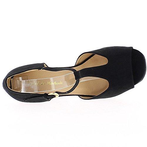 Camoscio nero aspetto di scarpe grandi dimensioni 14cm aprire col tacco piattaforma
