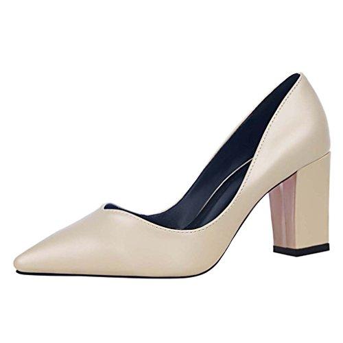 OALEEN Escarpins Chaussures Job Aspect Pointu Femme Moyen Cuir Soirée Talon féminin Confort Beige Bout Bloc waxqwrv4Fn
