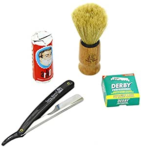 Shaving factory sf228 - Kit de afeitado (navaja negra, brocha artesanal, cuchillas derby professional simples y pastilla de jabón para afeitado arko)
