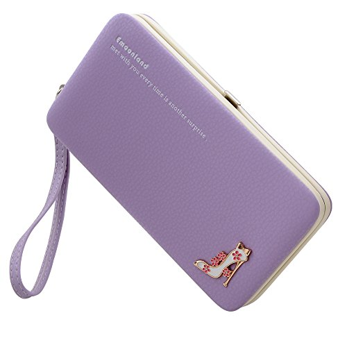 Smartphone Wristlet,Ladies Clutch Purse Wallet Mobile Phone Wristlet Wallet Large Capacity with Strap Wrist for iPhone X/8/8 Plus/7/7 Plus/6S /6S Plus/6/Samsung Galaxy S8/S7/S6 by Emoonland(Purple) by Emoonland