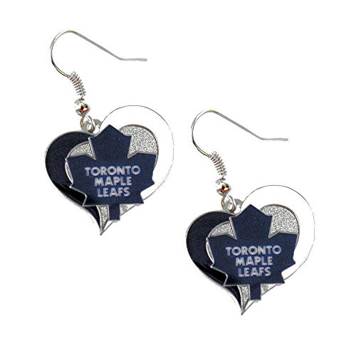 Toronto Maple Leafs Swirl Heart Earring NHL Dangle Logo Charm Gift