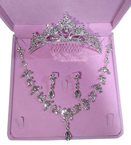 Ever Girl Bling Bride Hair Accessories Tiaras Earrings Necklace Wedding Sets E -