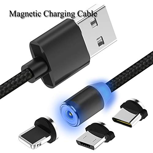 Shackles Type Straight (Magnetic Charging Cable 3 in 1 Cable Nylon Braided (1 Pack,3 Adapter,3.3 FT Straight Cable) Multiple USB Fast Charger Cord (Black, 3.3 FT))