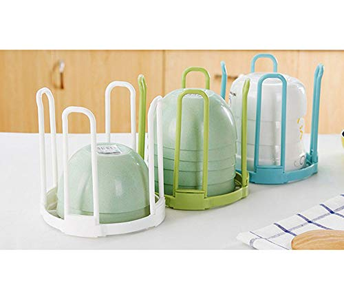 YAKU Soup Porcelain Tiered Bowl Rack Organizer Kitchen Deep Baking Soap Plastic Dish Drying Display a Rack Stackable Mount Collapsible Small Drainer for Casserole Storage Set Sink Round Dryer ()