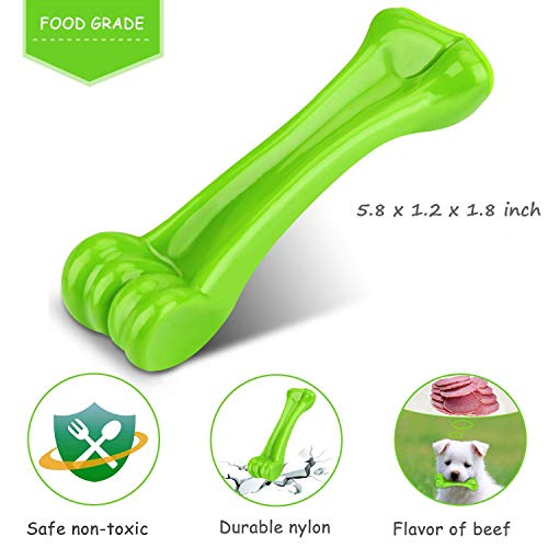(Dog Bone | Toys for Aggressive Chewers Indestructible Pet Chew Bones for Puppy Dogs Tooth Green Long Lasting Extra Strong Durable)