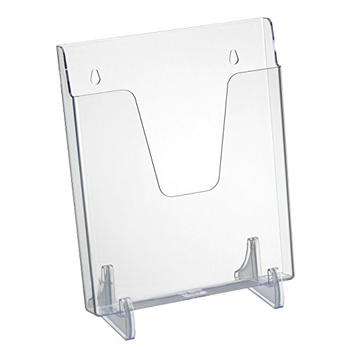 Acrimet Pocket File Holder Vertical Design Brochure Display (for Wall Mount or Countertop Use) (Removable Supports Included) (Letter Size) (Crystal Color)