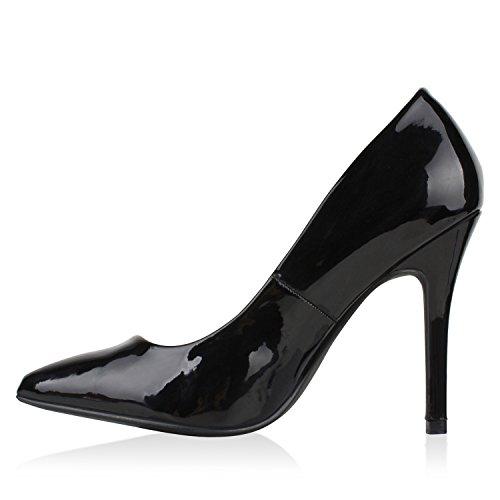 Stiefelparadies Spitze Damen Pumps Samt High Heels Stilettos Party Schuhe Flandell Schwarz Lack