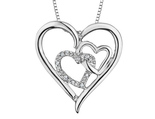 Triple Heart Pendant Necklace with Diamond Accents in Sterling Silver with ()