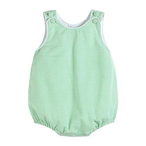 34331012093 Boy Bubble Romper in Green]()