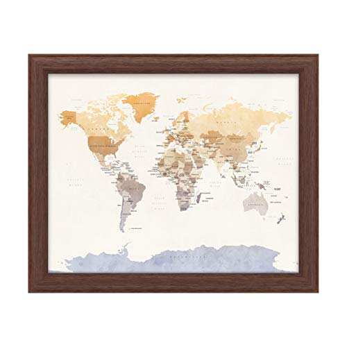 Trademark Fine Art Watercolour Political Map of The World by Michael Tompsett, Wood Frame 16x20, Multi-Color