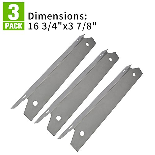 XHome 3 Pack Stainless Steel Gas Grill Heat Plate/Shield for Brinkmann Grill Zone Replacement Parts 810-6345t and Charmglow 810-7400-S Replacement Grill Parts,KL-H4 (16 3/4 x 3 7/8 inch) 6830 Series