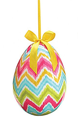 Needzo Gifts Colorful Springtime Chevron Easter Egg Ornament, 8 Inch Paper Mache Easter Egg