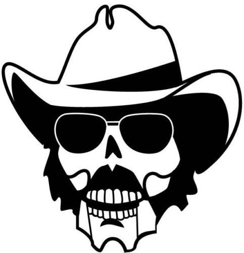 SKULL WITH GLASSES AND COWBOY HAT- CAR DECAL STICKER, Black, 8 Inch, Die Cut Vinyl Decal, For Windows, Cars, Trucks, Toolbox, Laptops, Macbook-virtually Any Hard Smooth Surface -