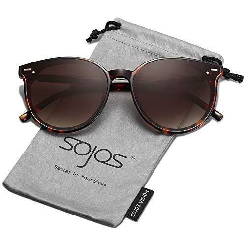 SOJOS Classic Round Retro Plastic Frame Vintage Inspired Sunglasses BLOSSOM SJ2067 with Tortoise Frame/Gradient Brown ()