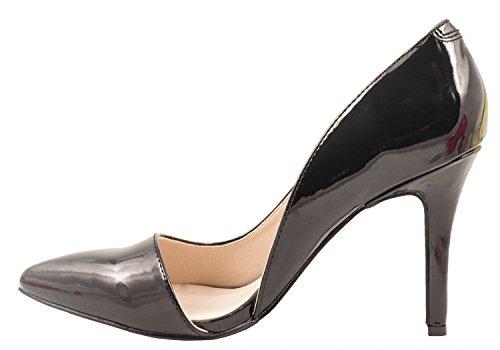 Elara Spitze Damen Pumps | Bequeme Lack Stilettos | Elegante High Heels | chunkyrayan Schwarz State