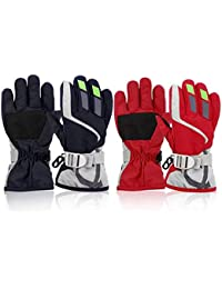 2 Pairs Toddler Snow Gloves Waterproof kids Ski Gloves for 2 to 6 Years Boys Girls Winter Warm Lining Gloves Mittens for Cold Weather (Navy/Red Pack)