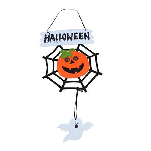 Great Halloween Scary Non-Woven Hanging Decoration Spider Web Pumpkin Halloween Party (Color : As Shown, Size : 27.522cm) -