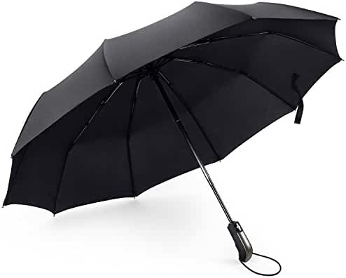 FYLINA Umbrella Compact Travel Umbrella Folding Rain Umbrellas Windproof Auto Open & Close for One Handed Operation 10 Ribs- Portable, Lightweight, Black