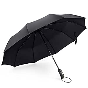 Travel Umbrella Ourine 10 Ribs Black Compact Windproof Umbrella with Reinforced Teflon Coating Canopy Folding Umbrella Auto Open Close for Men and Women
