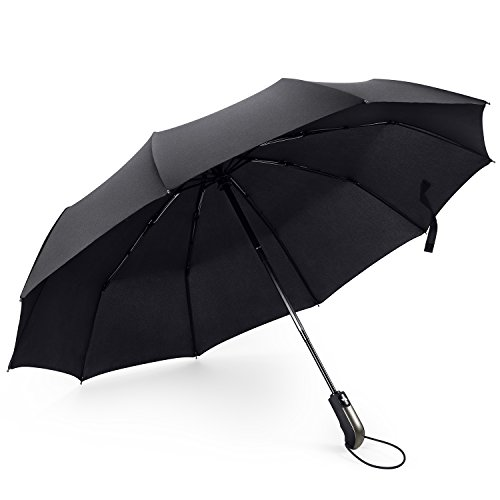 42 Inch Mini Folding Umbrella - FYLINA Travel Umbrella Windproof Compact Umbrellas Auto Open Close, Easy Touch Golf Umbrella with Light Reflective,10 Ribs Automatic Umbrella for Men and Women
