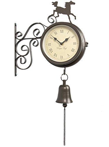 馬デザインのベル付き屋外用温度計兼時計 − 47cm (GG0229) B003WUJKS8