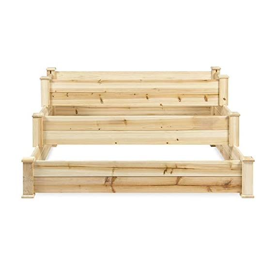 Best Choice Products 3-Tier 4x4ft Elevated Wooden Vegetable Garden Bed Planter Kit w/ No Assembly Required for Outdoor Gardening - Natural 3 STAIR STEP DESIGN: 4x4ft garden bed is designed with 3 open tiers, making it perfect for growing plants and vegetables ranging from short to medium and tall heights QUALITY PLANT GROWTH: Separated design gives your plants ample space between each other to grow to their full potential DURABLE COMPOSITION: Made of 100% fir wood that is 0.5 inches thick for a gardening planter that is built to last through the seasons