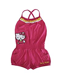 Sanrio Little Girls Fuchsia Hello Kitty Contrast Ruffle Trim Romper 4-6X