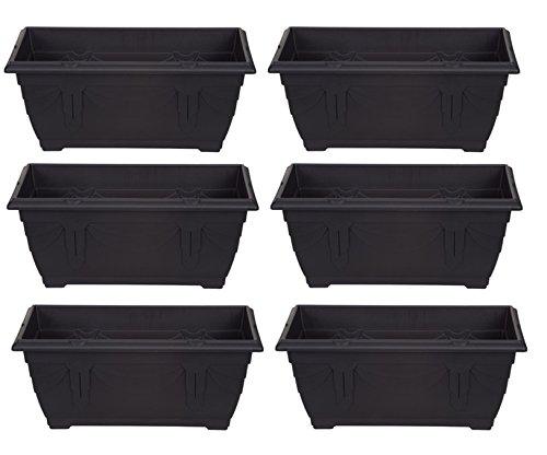6 x Small Plastic Venetian Window Box Trough Planter Plant Pot 40cm Black Colour Whitefurze