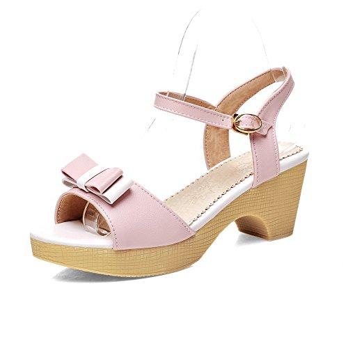 Odomolor Damen Schnalle Offener Zehe Mittler Absatz PU Leder Gemischte Farbe Sandalen Pink
