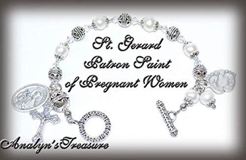 Rosary Freshwater Bracelet Pearl (St. Gerard Rosary Bracelet in Freshwater Pearls, Rosary Bracelet, Pearl Bracelet, October Birthstone, Breast Cancer, Or Choose Other Saints)
