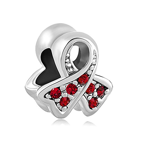 CandyCharms Breast Cancer Awareness Light Red Ribbon Charm Beads For Bracelet