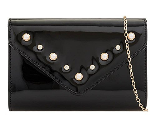 Pearl Faux Black Ladies Leather Patent Bag Prom New Clutch Decoration Evening PfqIA