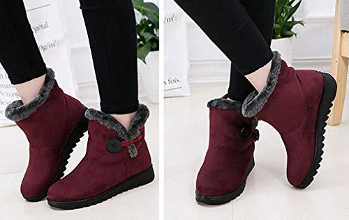 Calzado Rojas Mujer Outdoor Antideslizante Forradas 2018 Piel Casual Boots Calientes Planas Para Nieve Zapatos De Invierno Botas 0xxfaqB