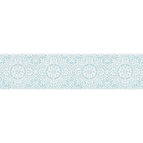 Portfolio Traditional Pattern Wallpaper (York Wallcoverings BP8251BD Border Portfolio II Santorini Border Removable Wallpaper, Aqua Blue/White)