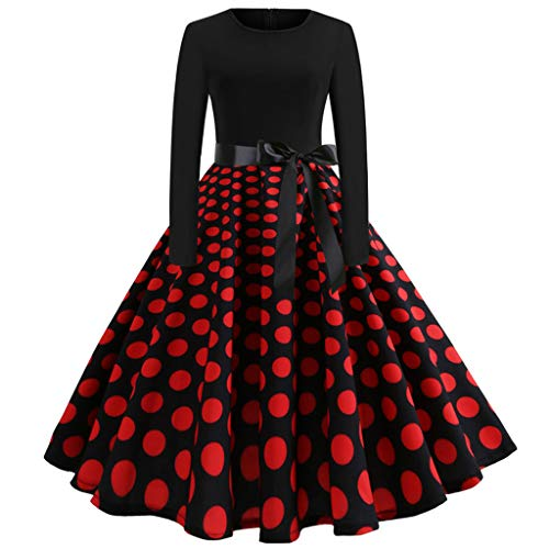 AmyDong Women's Long Sleeve Casual Vintage Dot Print Evening Party Prom Swing Dress