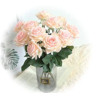 cn-Knight Artificial Flower 12pcs 17'' Artificial Rose Blossom with Leaves Gel Coated Silk Flower for Wedding Bridal Bouquet Bridesmaid Home Décor Office Baby Shower Centerpiece,Pink with Purple Edge 29
