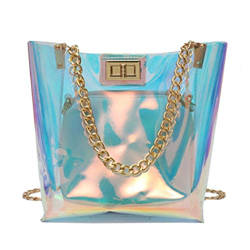 Clear Chain Tote, Mini Clear Messenger Bag Womens Shoulder Handbag (Multi-colored)