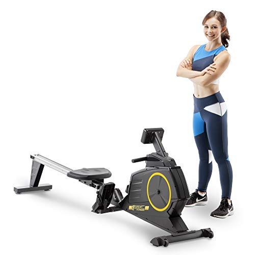 Buy Discount Circuit Fitness Deluxe Foldable Magnetic Rowing Machine with 8 Resistance Setting & Tra...