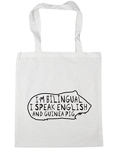 HippoWarehouse I'm Bilingual I Speak English And Guinea Pig Tote Shopping Gym Beach Bag 42cm x38cm, 10 litres White